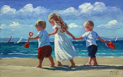 Idyllic Days By The Sea by Sherree Valentine Daines - Original Painting on Board sized 12x8 inches. Available from Whitewall Galleries